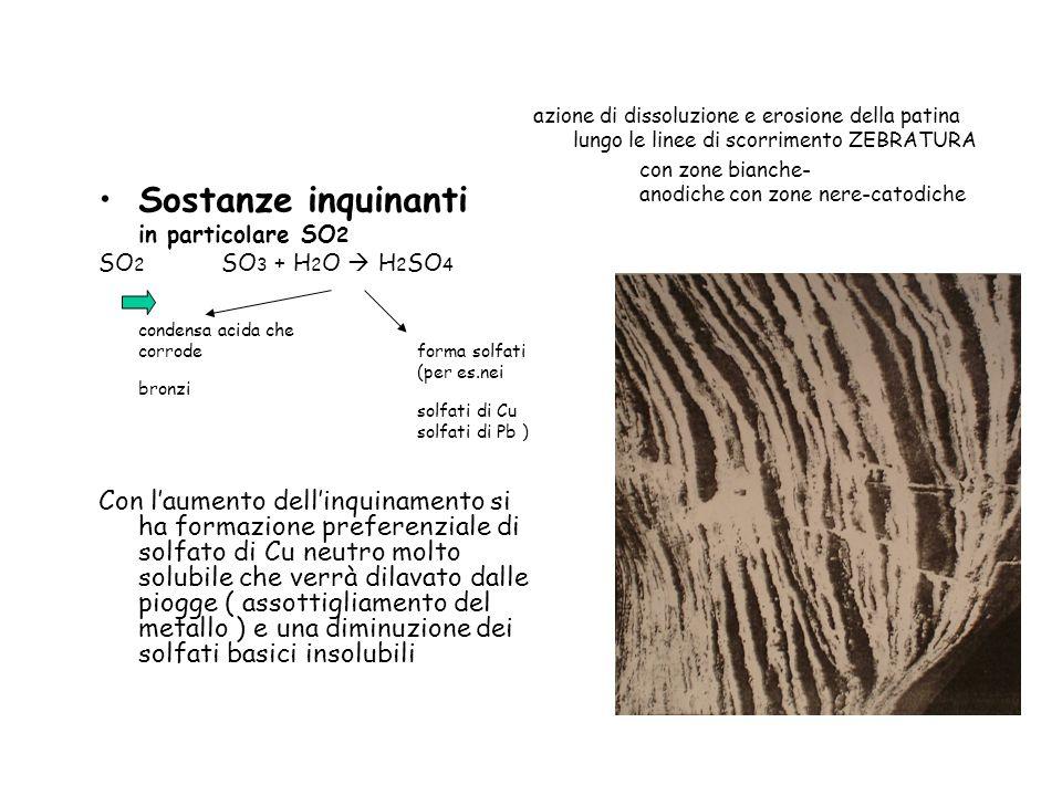 azione di dissoluzione e erosione della patina lungo le linee di scorrimento ZEBRATURA