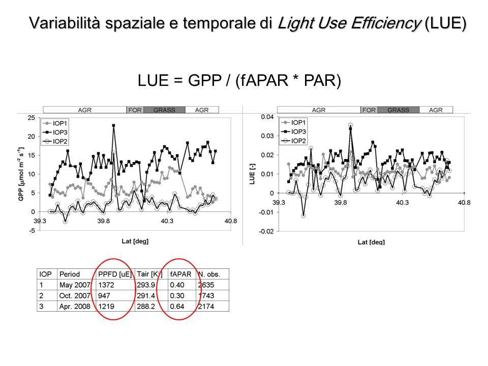 Variabilità spaziale e temporale di Light Use Efficiency (LUE)