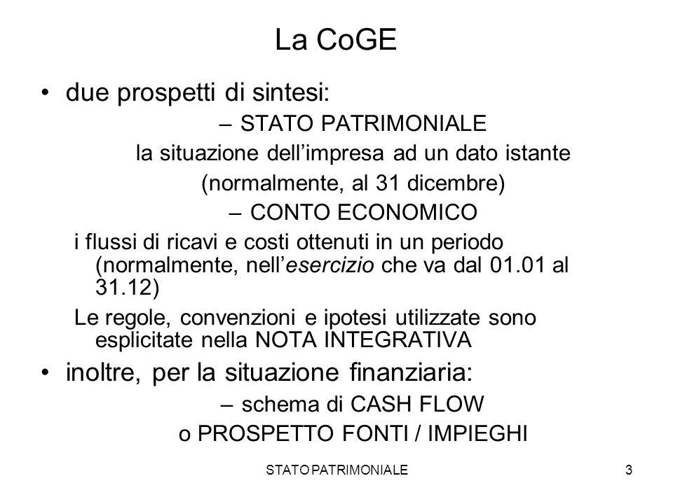 La CoGE due prospetti di sintesi: