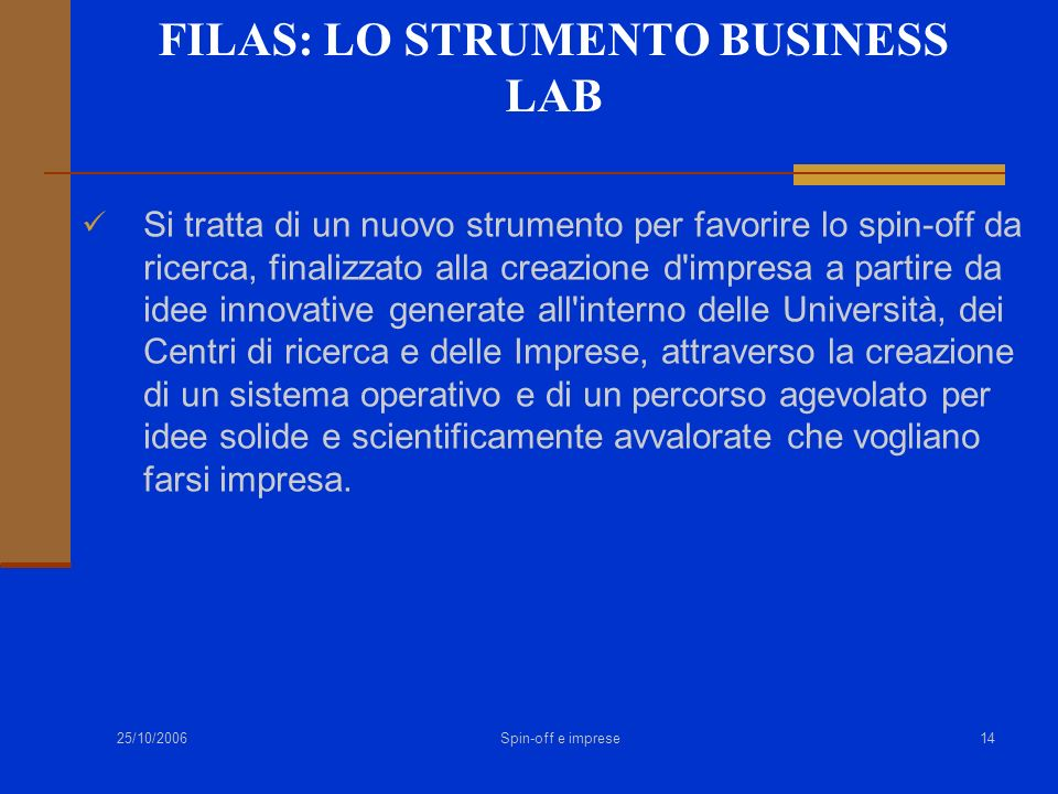 FILAS: LO STRUMENTO BUSINESS LAB