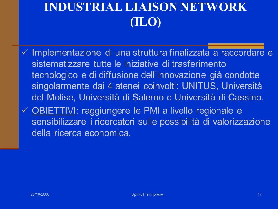 INDUSTRIAL LIAISON NETWORK (ILO)