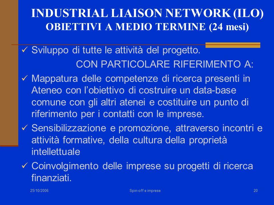 INDUSTRIAL LIAISON NETWORK (ILO) OBIETTIVI A MEDIO TERMINE (24 mesi)