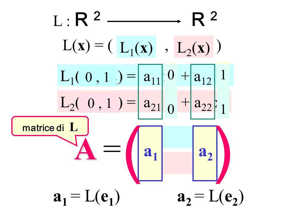 ( ) A = R 2 a1 a2 a1 = L(e1) a2 = L(e2) L : R 2 L(x) = ( , ) L1(x)