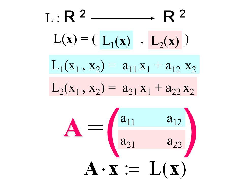 ( ) A = R 2 L : R 2 L(x) = ( , ) L1(x1 , x2) = a11 x1 + a12 x2