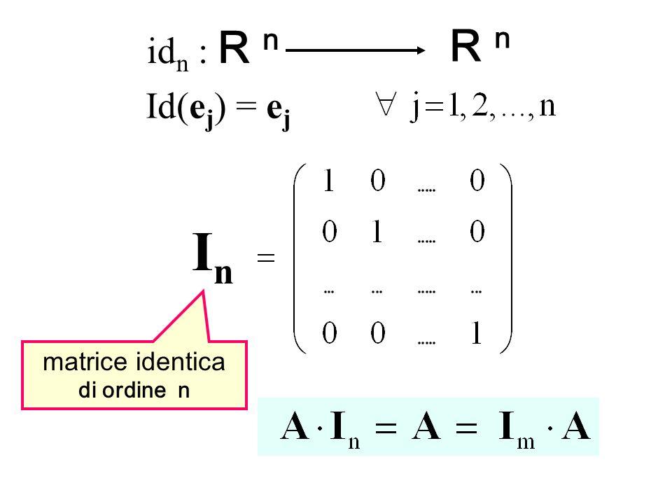 idn : R n R n Id(ej) = ej In matrice identica di ordine n