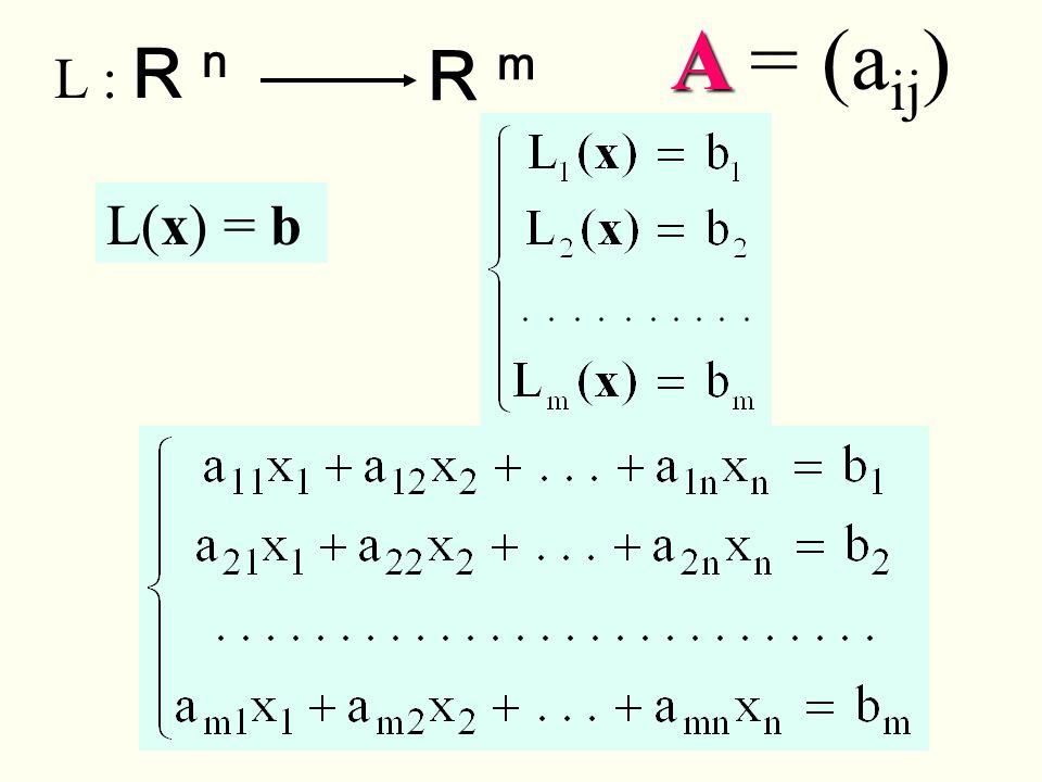 A = (aij) L : R n R m L(x) = b