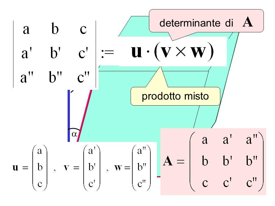 determinante di A v x w Det(A) := u prodotto misto a w a v