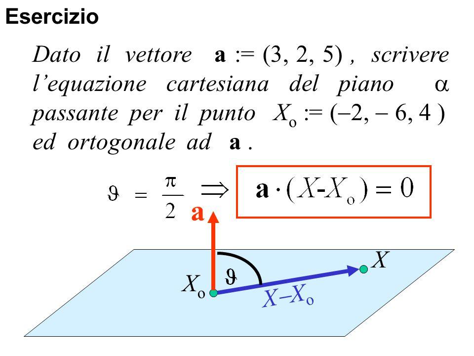 Esercizio Dato il vettore a := (3, 2, 5) , scrivere l'equazione cartesiana del piano  passante per il punto Xo := (-2, - 6, 4 )