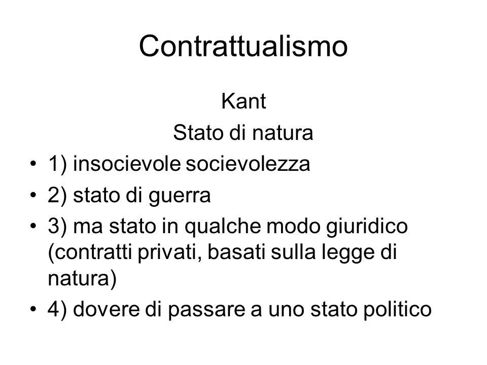 Contrattualismo Kant Stato di natura 1) insocievole socievolezza