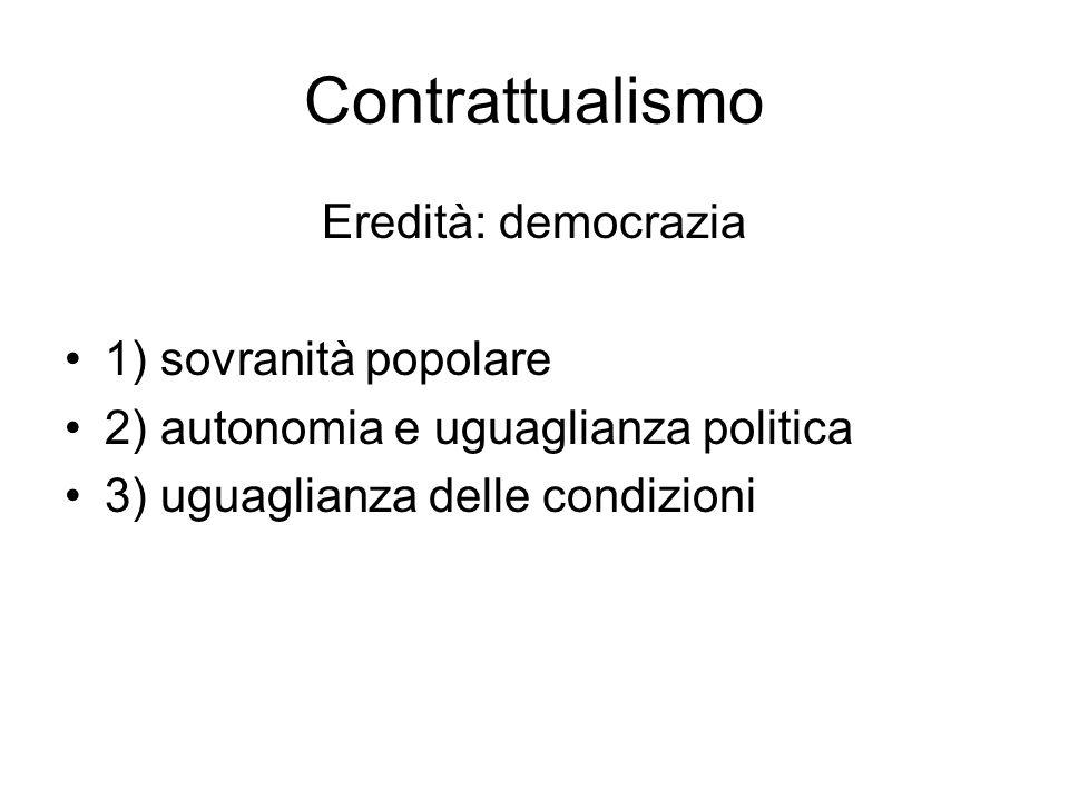Contrattualismo Eredità: democrazia 1) sovranità popolare