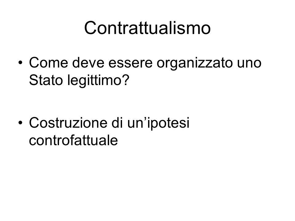 Contrattualismo Come deve essere organizzato uno Stato legittimo