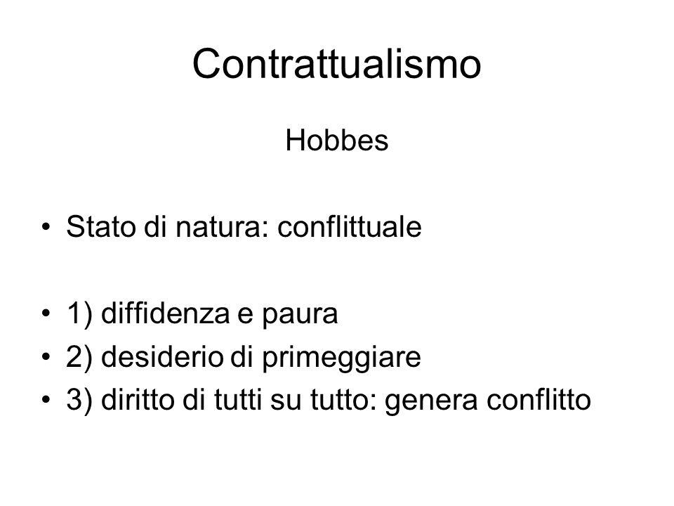 Contrattualismo Hobbes Stato di natura: conflittuale