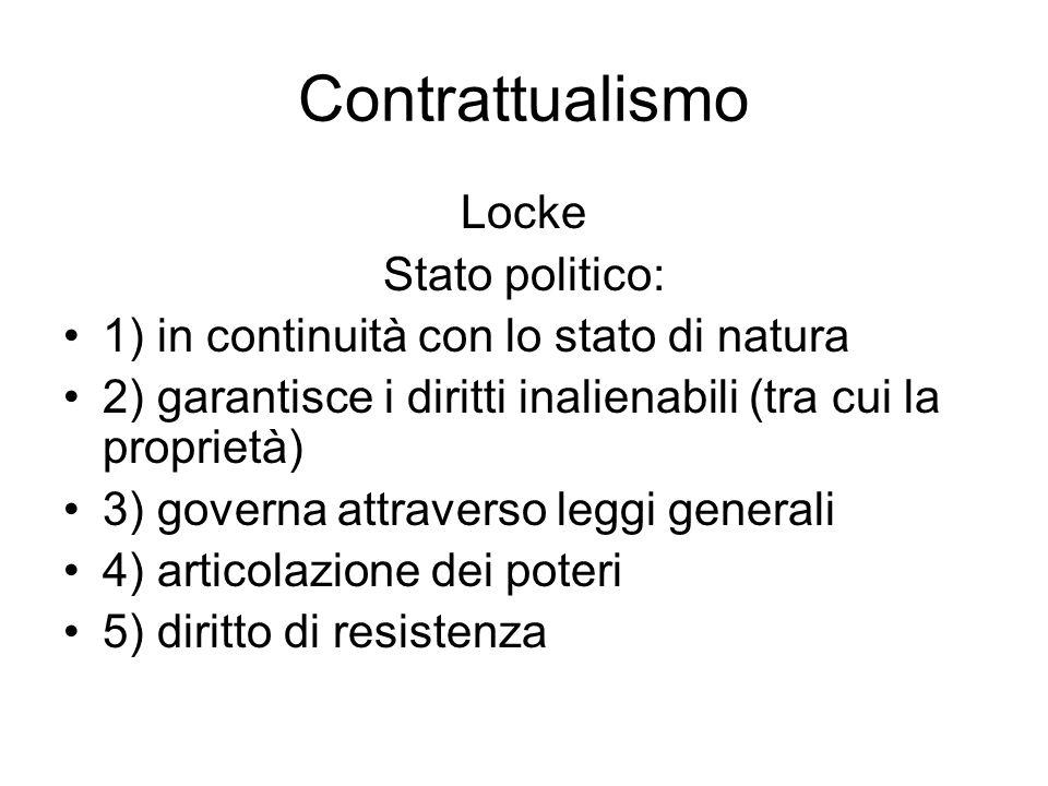 Contrattualismo Locke Stato politico: