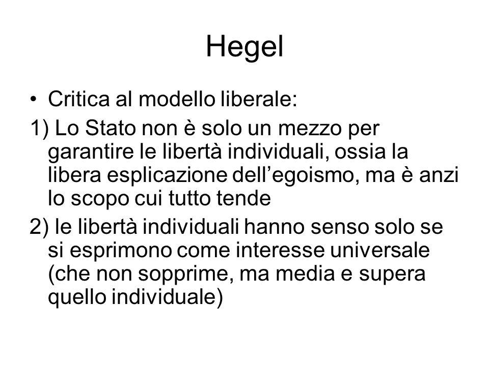 Hegel Critica al modello liberale: