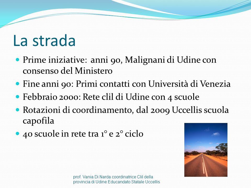 La strada Prime iniziative: anni 90, Malignani di Udine con consenso del Ministero. Fine anni 90: Primi contatti con Università di Venezia.