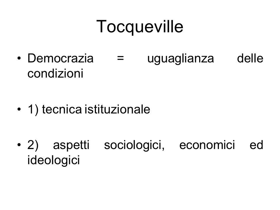 Tocqueville Democrazia = uguaglianza delle condizioni