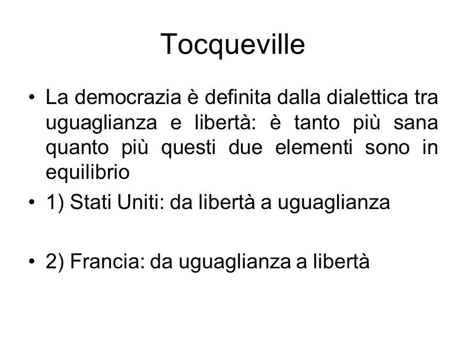 Tocqueville La democrazia è definita dalla dialettica tra uguaglianza e libertà: è tanto più sana quanto più questi due elementi sono in equilibrio.