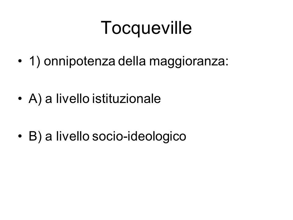 Tocqueville 1) onnipotenza della maggioranza: