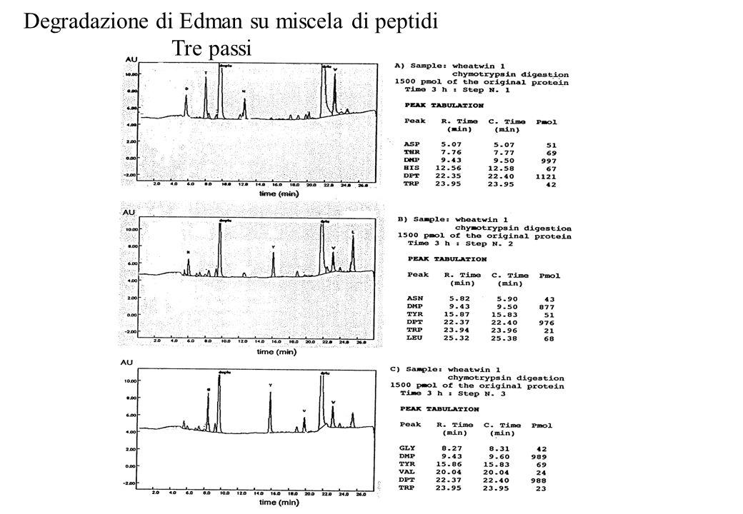 Degradazione di Edman su miscela di peptidi