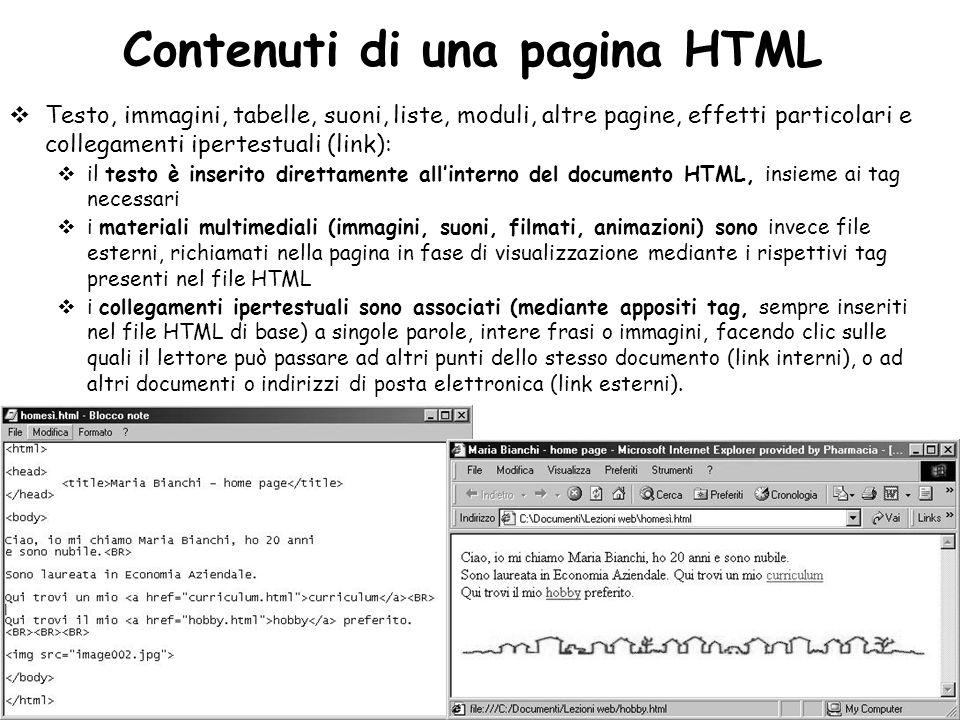 Contenuti di una pagina HTML