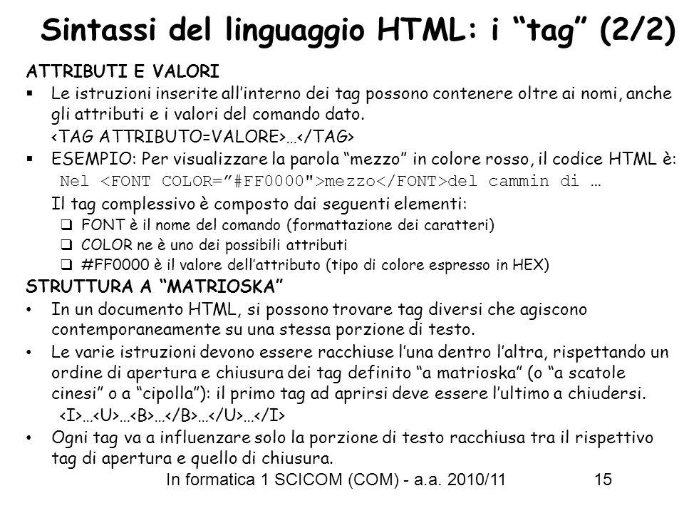 Sintassi del linguaggio HTML: i tag (2/2)