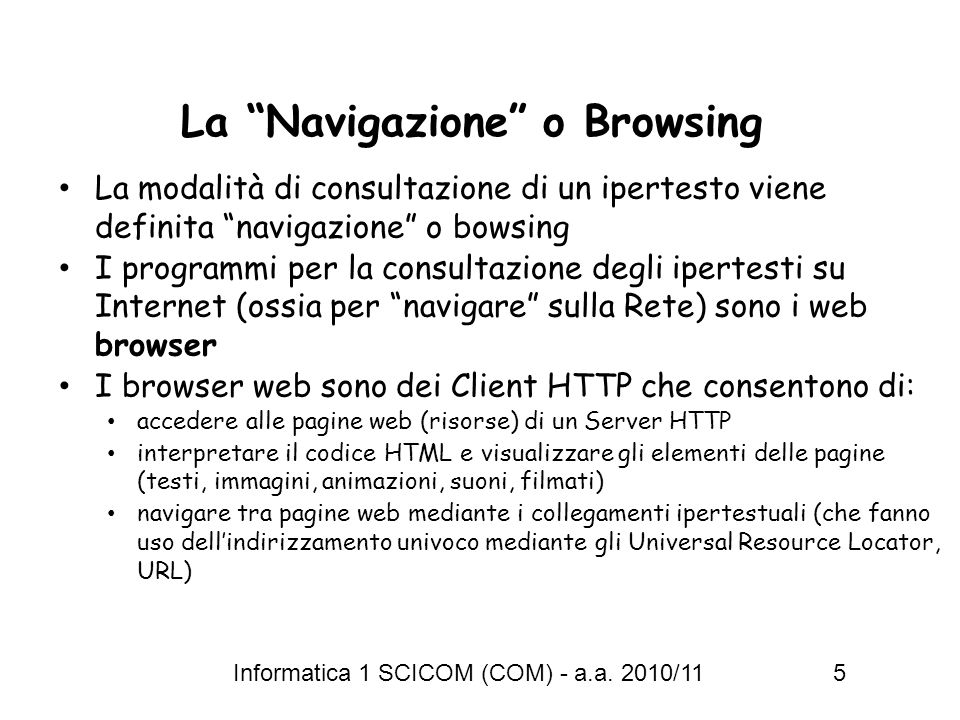 La Navigazione o Browsing