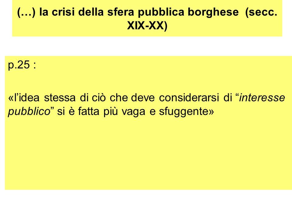 (…) la crisi della sfera pubblica borghese (secc. XIX-XX)