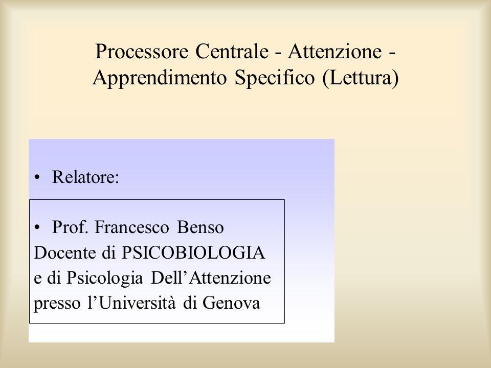 Processore Centrale - Attenzione - Apprendimento Specifico (Lettura)