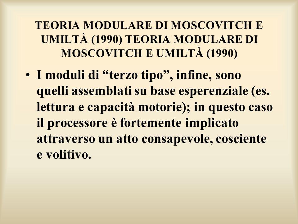 TEORIA MODULARE DI MOSCOVITCH E UMILTÀ (1990) TEORIA MODULARE DI MOSCOVITCH E UMILTÀ (1990)