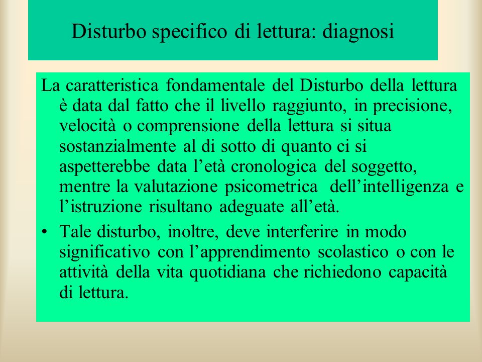 Disturbo specifico di lettura: diagnosi