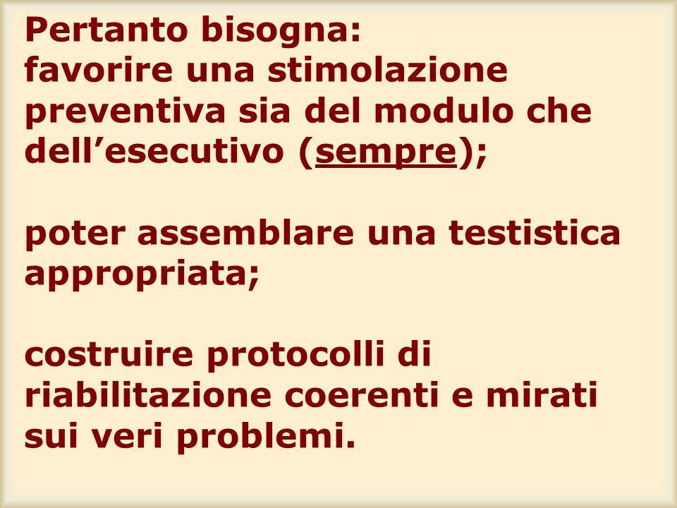 Pertanto bisogna: favorire una stimolazione preventiva sia del modulo che dell'esecutivo (sempre); poter assemblare una testistica appropriata; costruire protocolli di riabilitazione coerenti e mirati sui veri problemi.