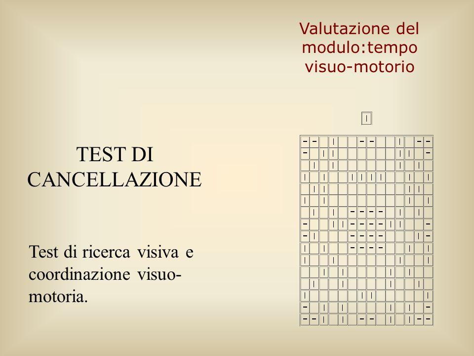 Valutazione del modulo:tempo visuo-motorio