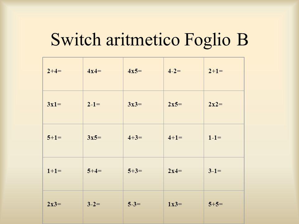 Switch aritmetico Foglio B
