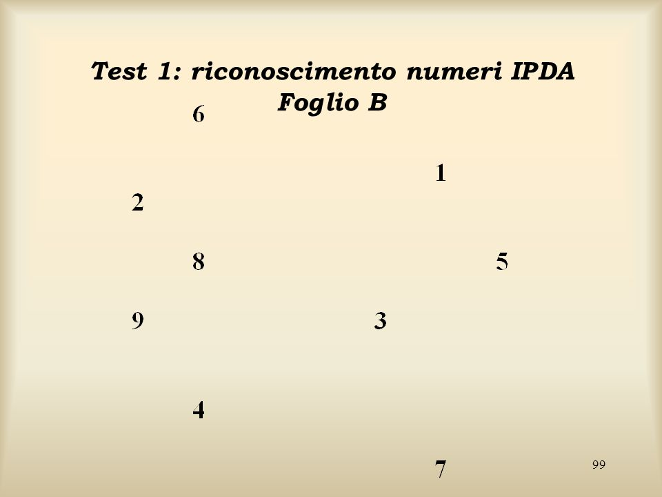 Test 1: riconoscimento numeri IPDA Foglio B