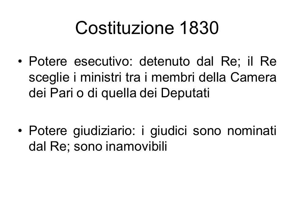 Costituzione 1830 Potere esecutivo: detenuto dal Re; il Re sceglie i ministri tra i membri della Camera dei Pari o di quella dei Deputati.