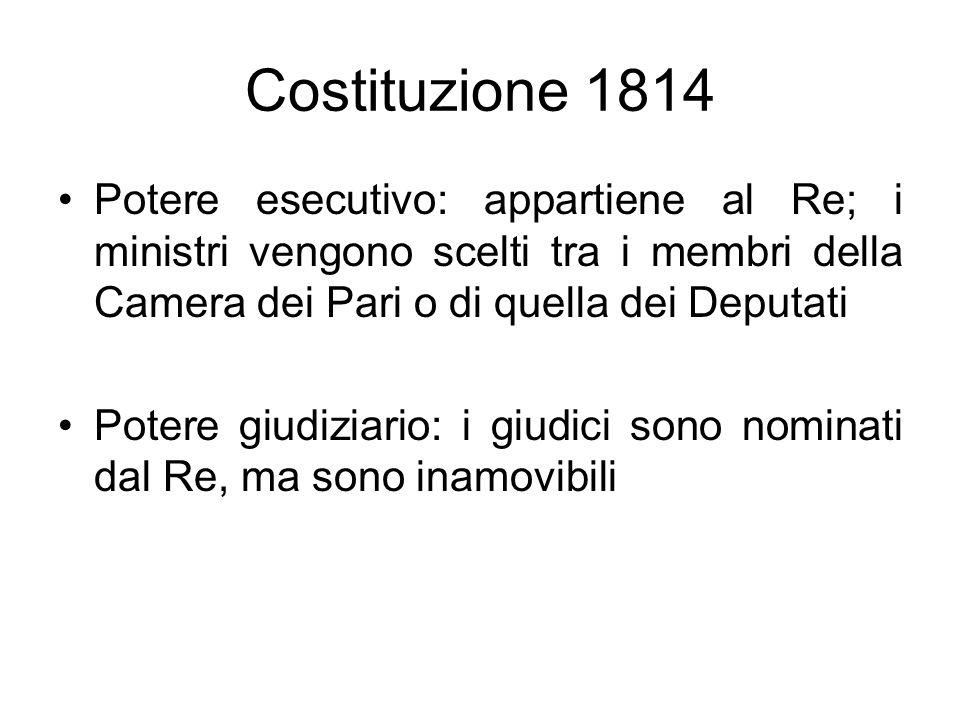 Costituzione 1814 Potere esecutivo: appartiene al Re; i ministri vengono scelti tra i membri della Camera dei Pari o di quella dei Deputati.