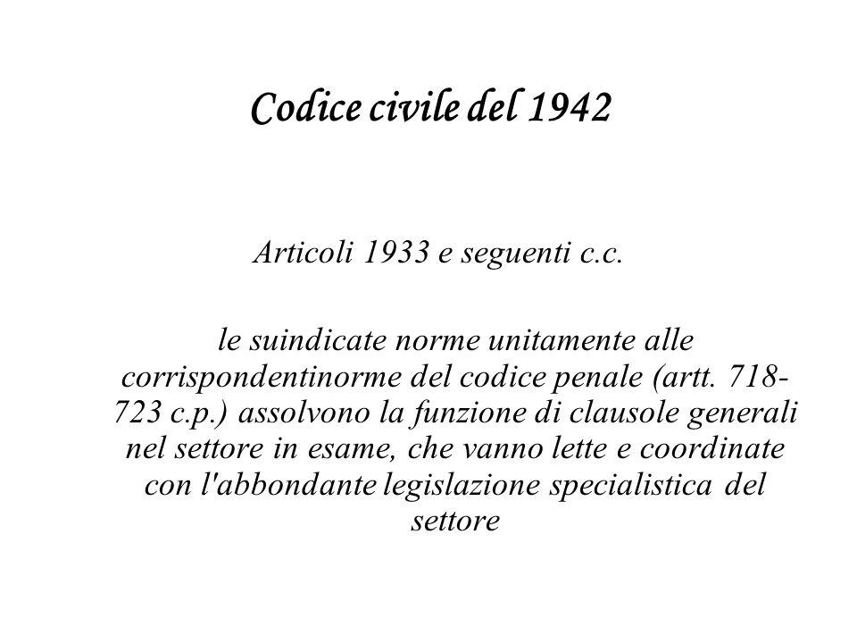 Codice civile del 1942 Articoli 1933 e seguenti c.c.