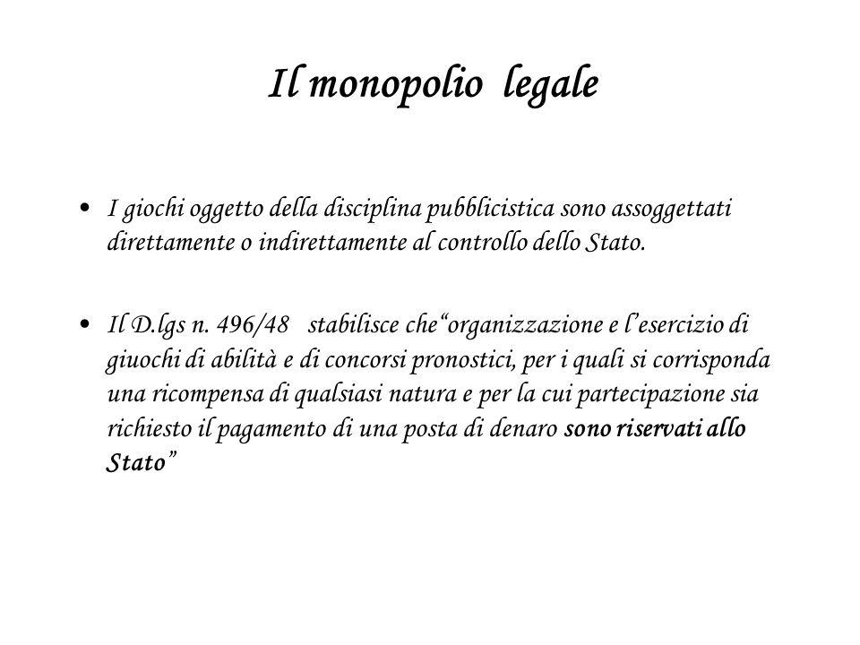 Il monopolio legale I giochi oggetto della disciplina pubblicistica sono assoggettati direttamente o indirettamente al controllo dello Stato.