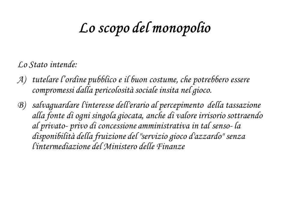 Lo scopo del monopolio Lo Stato intende: