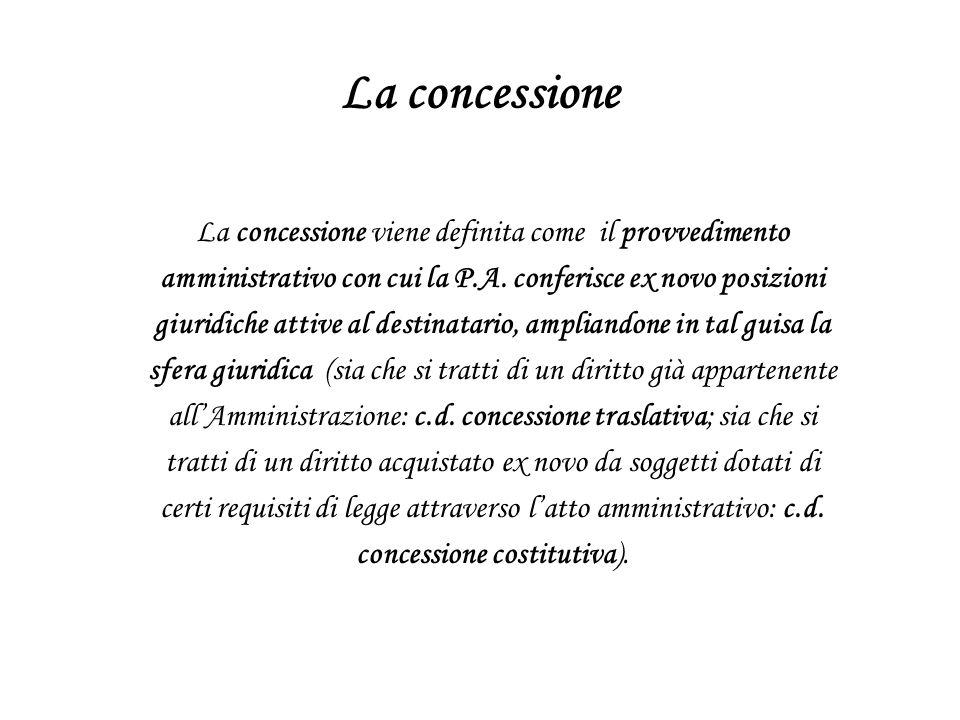 La concessione La concessione viene definita come il provvedimento
