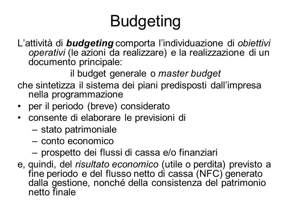 il budget generale o master budget
