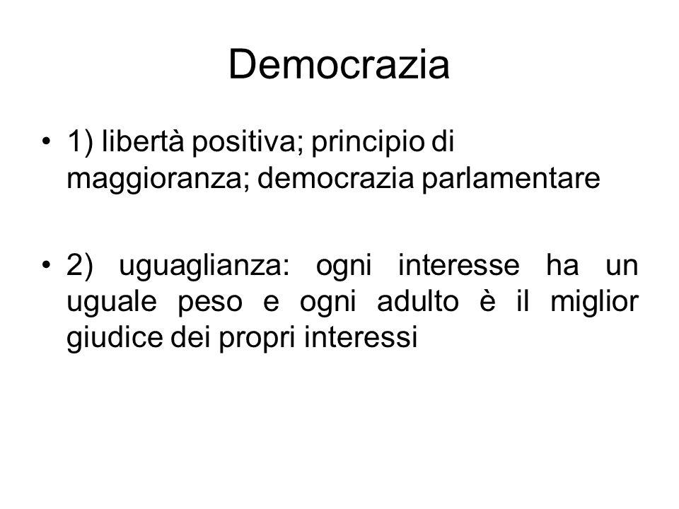 Democrazia 1) libertà positiva; principio di maggioranza; democrazia parlamentare.