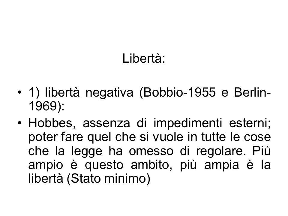 Libertà: 1) libertà negativa (Bobbio-1955 e Berlin-1969):