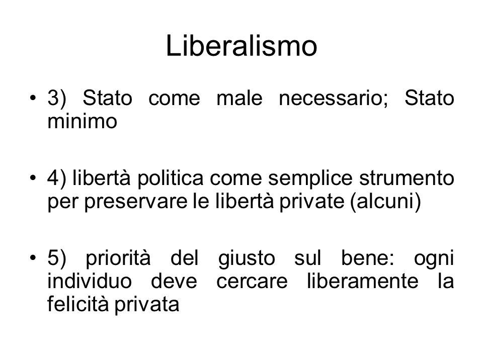 Liberalismo 3) Stato come male necessario; Stato minimo