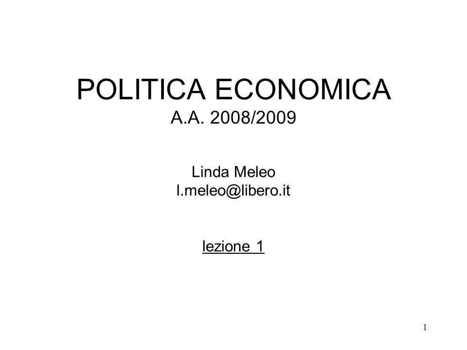 POLITICA ECONOMICA A. A. 2008/2009 Linda Meleo l. meleo@libero