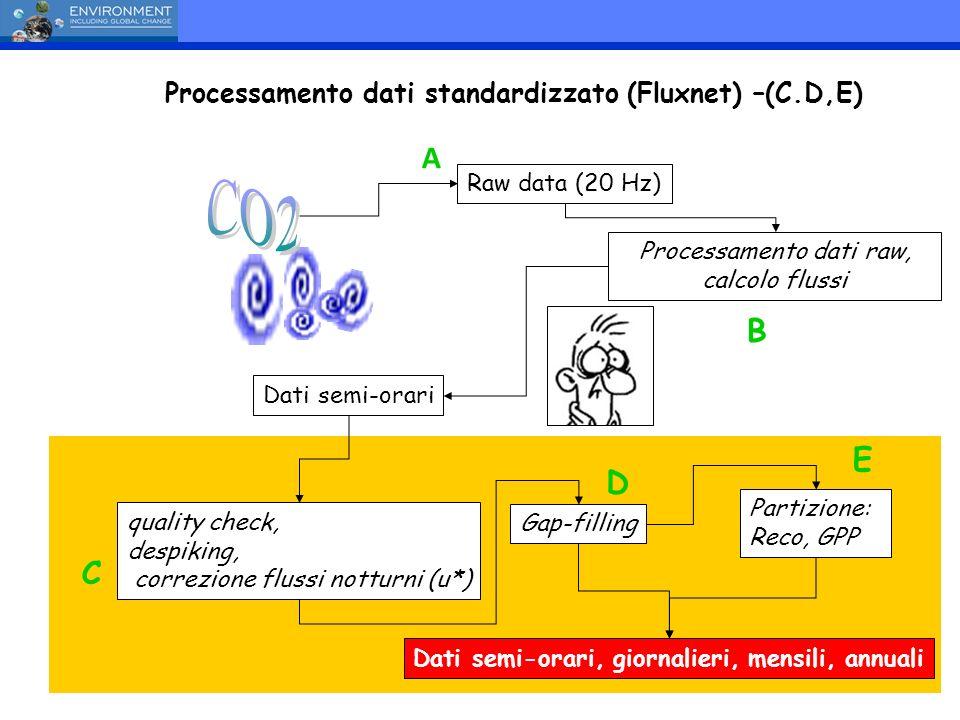Processamento dati raw, calcolo flussi