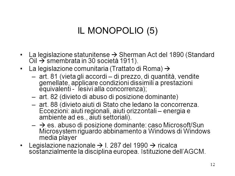 IL MONOPOLIO (5) La legislazione statunitense  Sherman Act del 1890 (Standard Oil  smembrata in 30 società 1911).