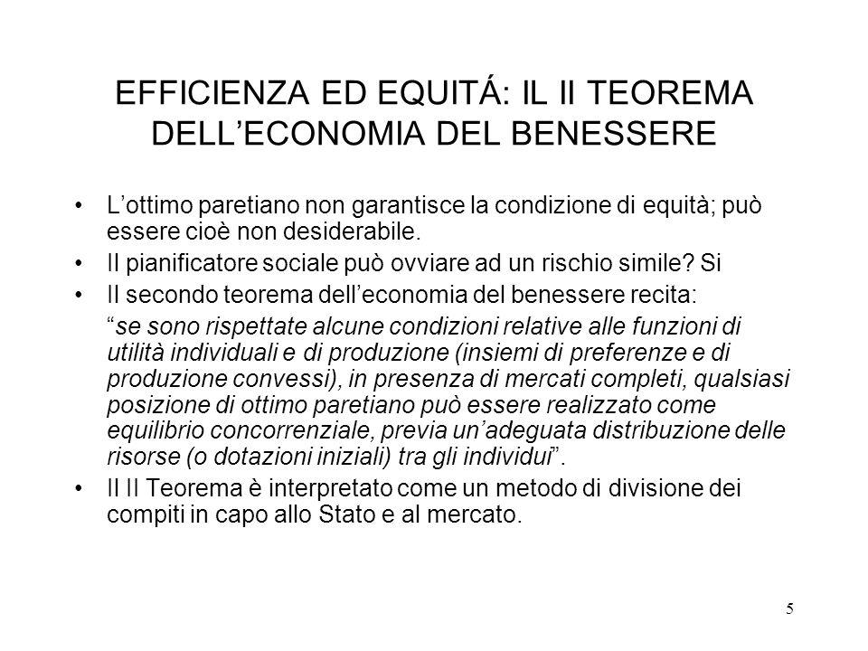 EFFICIENZA ED EQUITÁ: IL II TEOREMA DELL'ECONOMIA DEL BENESSERE