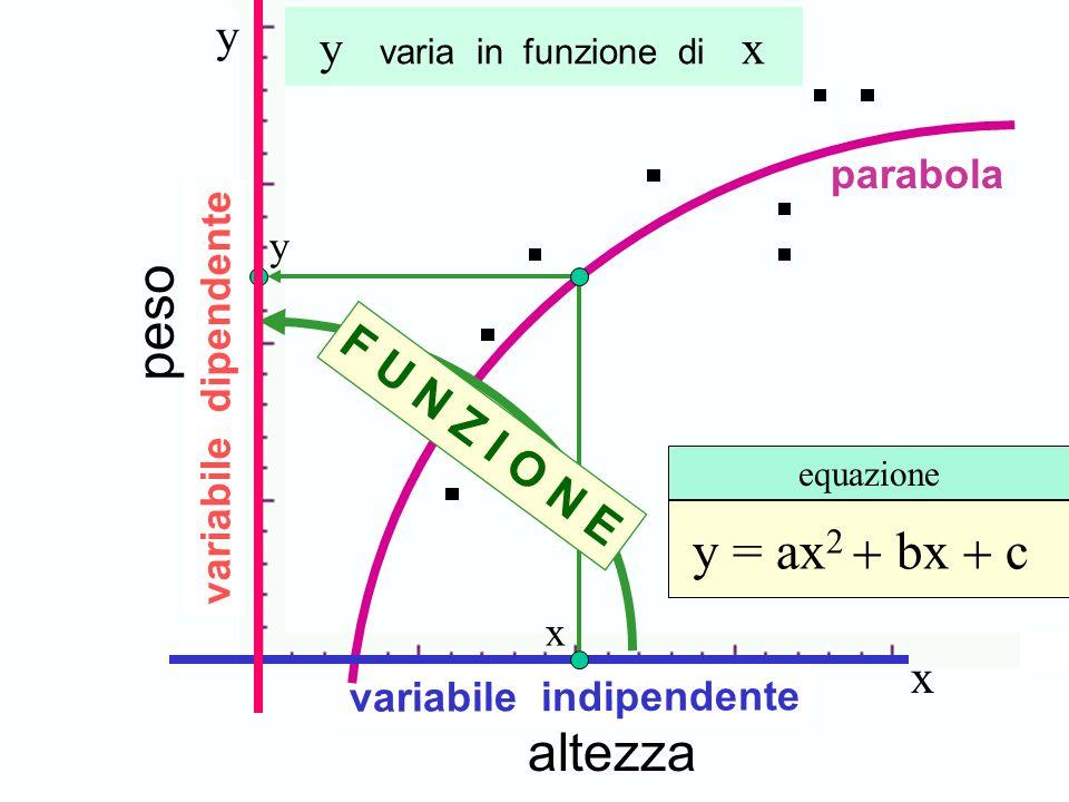 Concetto di funzione peso y = ax2 + bx + c altezza y