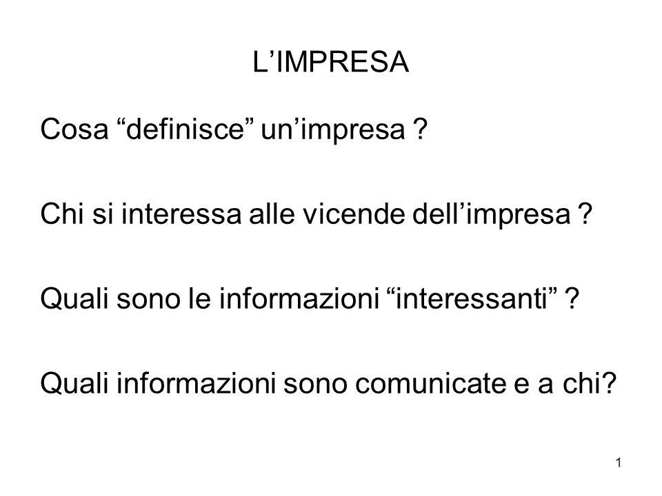 L'IMPRESA Cosa definisce un'impresa Chi si interessa alle vicende dell'impresa Quali sono le informazioni interessanti